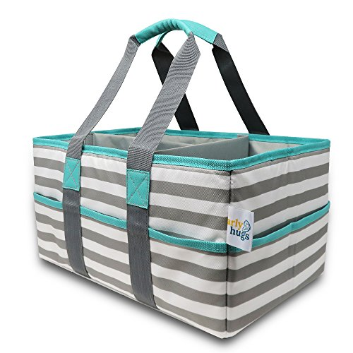 Early Hugs Diaper Caddy, Nursery Storage Organizer, Baby Gift Bag, Gray & Teal