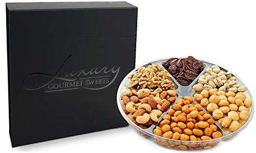 Assorted Nut Tray Gift Platter Box - Kosher - Roasted Salted Cashews, Almonds, Pistachios, Macadamias, Honey Baked Glazed Pecans, Honey Roasted Peanuts, Raw Walnuts - Perfect for Holidays (Gift Tray Ultimate)