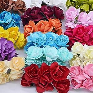 ShineBear 24Pcs 3cm Artificial Azaleas Paper Flower Wedding Decoration DIY Craft Rhododendron Fake Flower Rose Wreaths Home Supplies 92