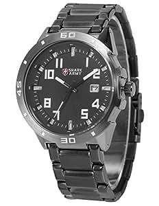Tiburón ejército estilo militar reloj de pulsera de la fecha plateado acero inoxidable banda cuarzo hombres saw074