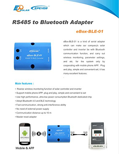 EPEVER eBox-BLE-01 Bluetooth-Adapter für MPPT-Controller mit RS485-Anschluss, unterstützt Android/iOS-App (eBox-BLE-01)