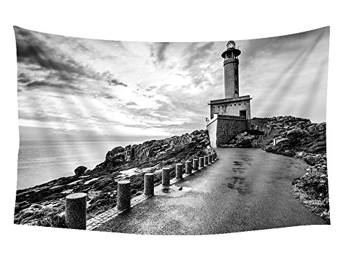 Punta nariga spain lighthouse - Wall Tapestry Art For Home Decor Wall Hanging Tapestry 60x40 Inches Black and White by PUPBEAMO PRINTS