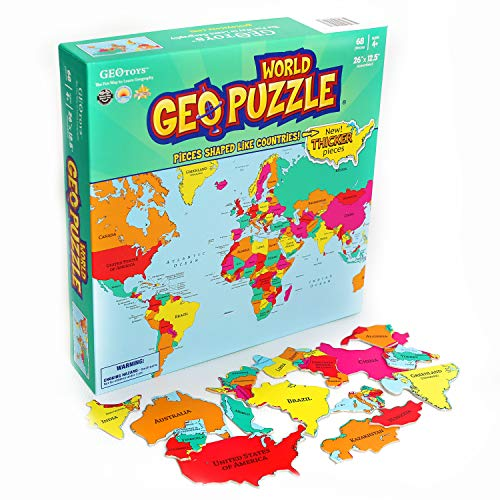 GeoToys - GeoPuzzle World - Educational Kid Toys for Boys and Girls, 68 Piece Geography Jigsaw Puzzle, Jumbo Size Kids Puzzle - Ages 4 and up