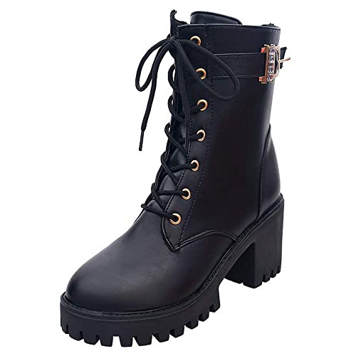 Zapatos Alto talón para Mujer 2018 Otoño Moda Botas Bota Martin de Cuero Oxford con Cordones Botines de Nieve de Tubo Medio Zapatos Casuales Boots: ...