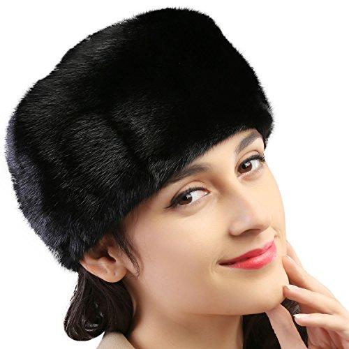 Mandy's Women's Autumn Winter Warm Mink Fur Hats New Dress Show Cap Flexible (One Size, Black) by Mandy's