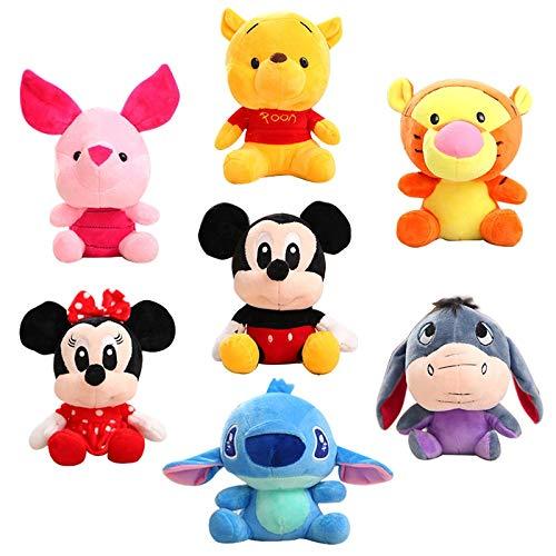 TinyOak- Stuffed & Plush Animals - Disney Stuffed Animals Plush Cute Mouse Minnie Winnie The Pooh Doll Lilo and Stitch Piglet Keychain Birthday Gift Children Girl Toy 1 PCs]()