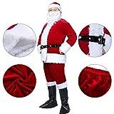 Christmas Santa Claus Costumes Plush Boy's Pub Flannel Crawl Santa Suit Xmas Suit Dark Red