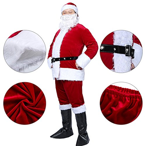 Christmas Santa Claus Costumes Plush Boy's Pub Flannel Crawl Santa Suit Xmas Suit Dark Red (Santa Pub Crawl)