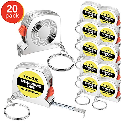 (Tape Measure Keychains Functional Mini Retractable Measuring Tape Keychains with Slide Lock for Birthday Party Favors and Daily Use, 1 m/ 3 ft (20))