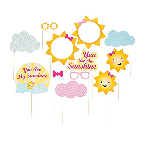 Fun Express - You are My Sunshine Photo Stick Props for Birthday - Apparel Accessories - Costume Accessories - Costume Props - Birthday - 12 Pieces
