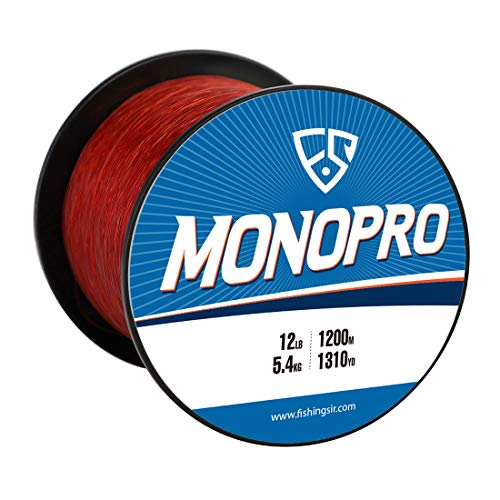 FISHINGSIR 6 LB Monofilament Fishing Line Leader Wire Mono Nylon Material, Superior Strong and Abrasion Resistant,Red