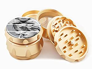 "Smoking Lips Design Premium Grade Aluminum Tobacco,Herb Grinder -4Pcs Large (2.5"" Gold) # GLD-G022115-076"
