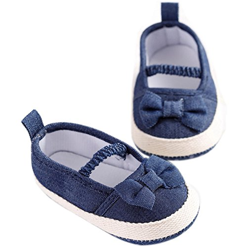 etrack-online bebé niña Mary Jane Jeans azul lazo suave suela antideslizante para zapatos as the picture Talla:12-18months as the picture
