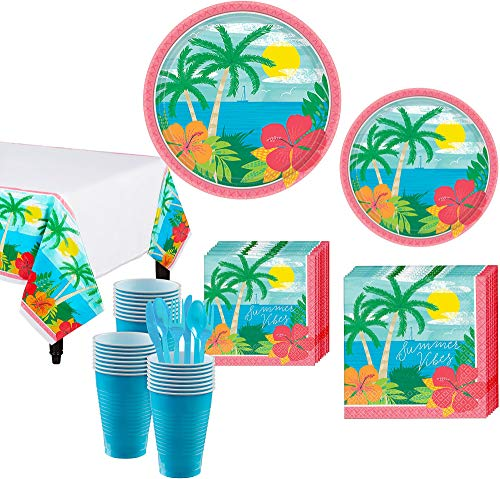 Party City Summer Vibes Tableware Party Supplies for 60 Guests, 643 Pieces, Include Plates Napkins Utensils Table Covers -