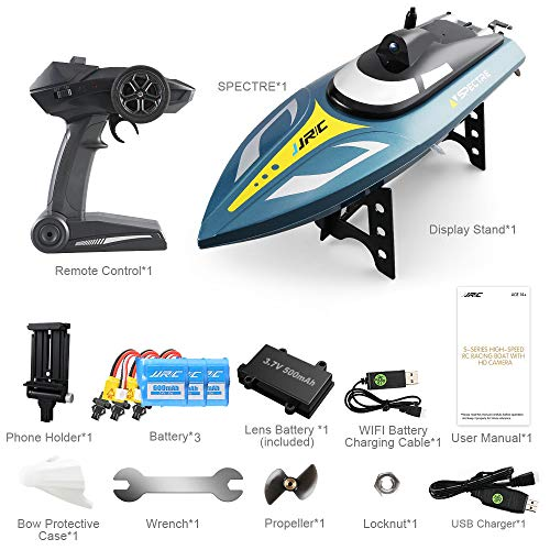 Price comparison product image ElementDigital JJR / C RC Boat S4 Spectre 2.4G 720P WiFi FPV Camera 25km / h Capsizing Recovery Water Cooling System High Speed RC Racing Ghost Boat Toy Kids Gift 3 Boat Battery