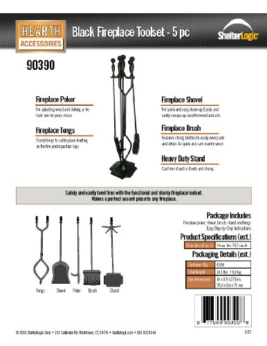 ShelterLogic 90390 5-Piece Fireplace Toolset, Black