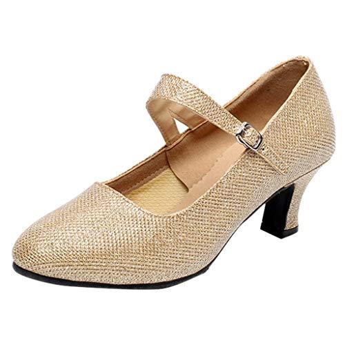 (Creazrise Women's Fashion Performance Salsa Tango Ballroom Latin Dance Shoes (Glod,6))
