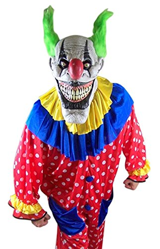 Scary Clown Halloween Costume with Evil Zippo the Clown Mask