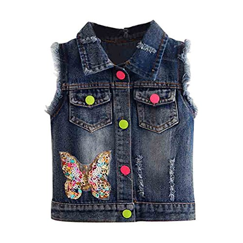 Mud Kingdom Toddler Girls Butterfly Sequined Denim Vest Jacket 7-8T Butterfly Jean Jacket