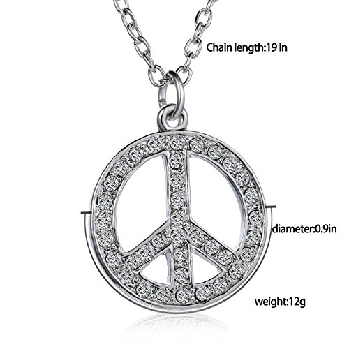 ilver Tone Round Peace Sign Pendant Necklace Fashion Jewelry (Tone Peace Necklace)