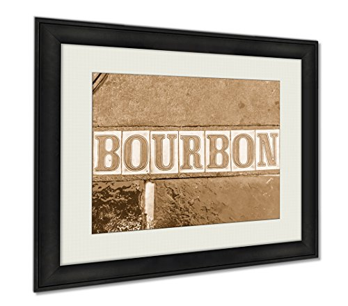 Ashley Framed Prints Bourbon Street In The Sidewalk, Wall Art Home Decoration, Sepia, 26x30 (frame size), - On Street Orleans Bourbon New Shops