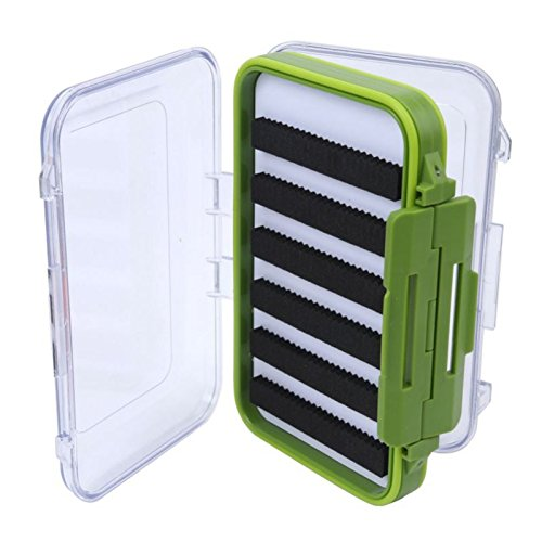 lastic Fly Box Slit Foam Double Side Clear Fly Fishing Tackle Box Green (Slit Foam)