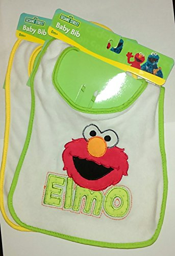 Sesame Street Terry Bib - Sesame Street Elmo Baby Bib (Terry Cloth) Set of 2, New Colors Vary