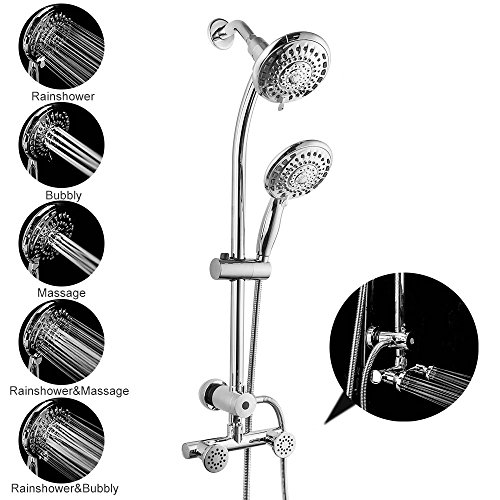 LORDEAR Best Commercial Flexible 5 Functions Double Rain Hotel Spa Dual Bathroom Shower Heads Handheld Combo, Polished Chrome Shower Set with Adjustable Slide Bar and Stainless Steel - Bar Adjustable Slide