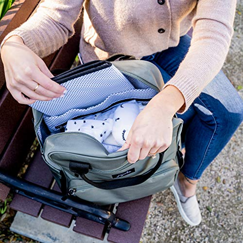 JuJuBe All Purpose Diaper Bag Backpack | Olive | Lightweight Waterproof Backpack, Machine Washable Durable Travel Bag with Baby Changing Pad, Bottle Pockets, Laptop Sleeve & Baby Stroller Straps
