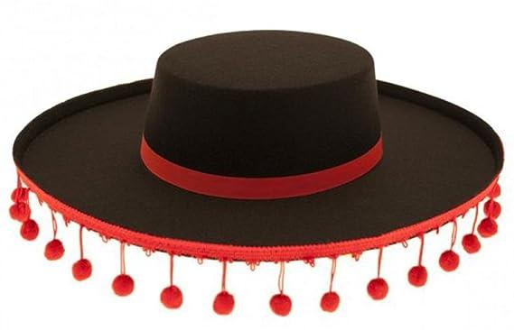 Unisex Fancy Party Dress Headwear Imported Felt Spanish Hat With Bobble  Trim  Amazon.co.uk  Clothing 2eb6170d582