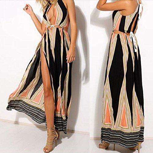 Culater® Femmes Sexy Robe longue Vintage Fendue du Côté Robe