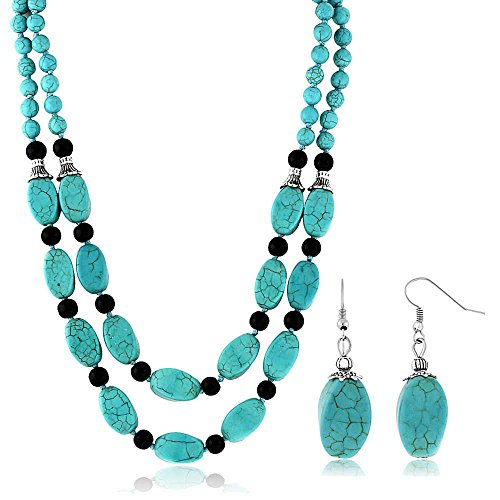 Gem Stone King 18inches Stunning Beads Simulated Turquoise Howlite Double Necklace and Earrings Set