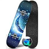 Flash Wheel Skateboard High Smooth High Endurance Skateboard High Speed Silent Skateboard (Color : Moonlight)