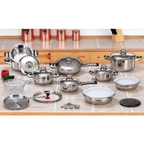 The Cookware Company New 12 Element 28pc T304 Stainless Steel Waterless Cookware Set