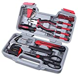 Tools & Hardware : Cartman Red 39-Piece Cutting Plier Tool Set - General Household Hand Tool Kit with Plastic Toolbox Storage Case
