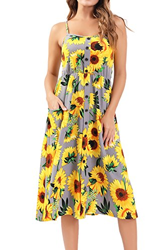Bzonly Womens Floral Dresses Summer Spaghetti Strap Button Down Midi Dress Pockets ()
