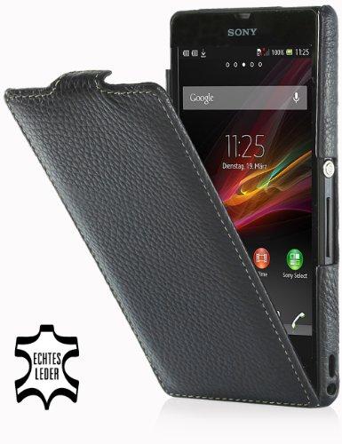 Exclusiva funda en piel Stilgut UltraSlim para Sony Xperia Z versión Old Style Negro