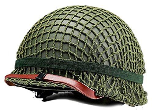 US Army Retro Version WWII Steel M1 Green Helmet Replica with pretend Net/ Canvas Chin Strap