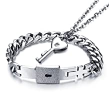 Mintik Jewelry Stainless Steel Men's Womens Couples Love Lock Bangle Key Pendants Necklace Set Valentine Wedding Engagement Gift