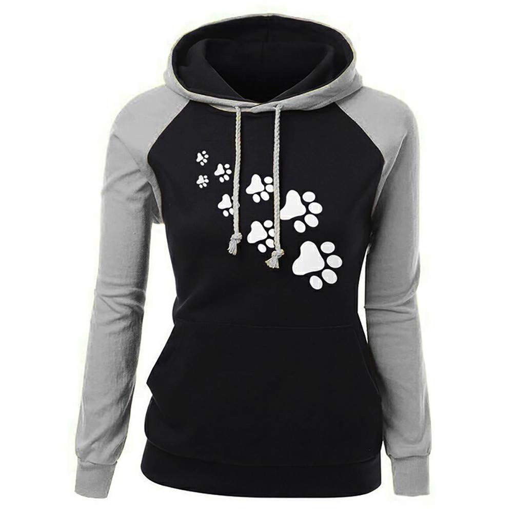 ✦HebeTop✦ Women Fashion Sport Casual Cute Print Cat Footprint Hooded Long Sleeves Pocket Irregular Loose Top Blouse Hoodies Gray by ▶HebeTop◄➟HOT SALES