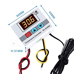 YEMIUGO Temperature Controller Module DC 12V Programmable Digital Thermometer Dual LED Display Thermometer with K-Type Thermocouple Thermostat High Pr