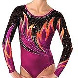 Demi Women's Gymnastics Competition Leotards Rhinestone TL048 (ASM, Berry)