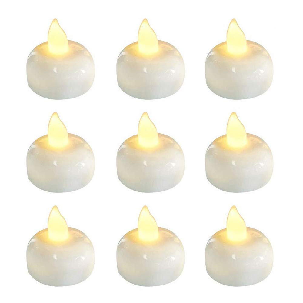 24 Pack Waterproof Led Floating Candles, Flickering Tea Lights, Battery Operated Tealights for Pool, Centerpiece, Wedding, Party, Warm White Light Trandpter