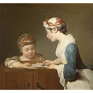 'Jean Simeon Chardin The Young Schoolmistress ' Oil Painting, 16 X 17 Inch / 41 X 44 Cm ,printed On Polyster Canvas ,this Cheap But Art Decorative Art Decorative Canvas Prints Is Perfectly Suitalbe For Home Theater Decor And Home Gallery Art And Gifts