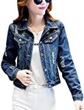 Tanming Women's Button Front Ripped Hole Denim Jean Jacket (X-Large, Blue)