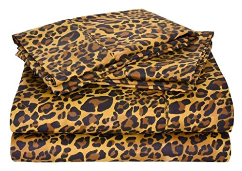 4 PCs Bed Sheet Set - 100% Egyptian Cotton - 600 Thread Count - 16 Inch Deep Pocket of Fitted Sheet - Leopard Print, Queen Size ()