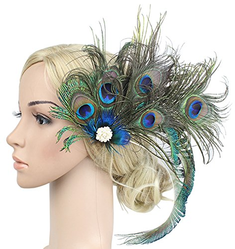 Women Girls Peacock Feather Hair Clip Retro Wedding Carnival Party Hairpin by TCYIN (Image #1)