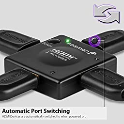 Fosmon HD1896 3-Port Compact HDMI Switch Switcher (Automatic Switching)