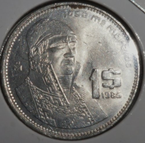 (Rare World Coin 1985 Mexico Peso (Professionally Carded), Excellent Condition: Very Fine Details Visible)