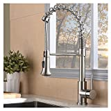 IKEBANA Modern Pull Out Sprayer Single Handle Brushed Nickel Kitchen Faucet, Swivel Spring Tall Kitchen Sink Faucet